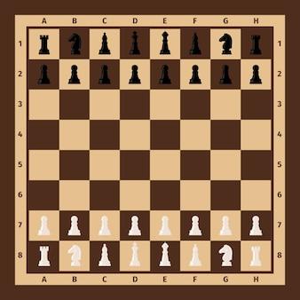 Scacchiera con pezzi degli scacchi su di esso