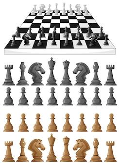 Scacchiera e illustrazione di pezzi di scacchi diversi