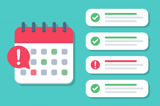 Scadenza del calendario con un elenco di casi completati e non soddisfatti in un design piatto