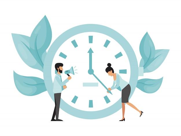 Scadenza lavoratori con grande orologio. la donna di affari prova a fermare le frecce dell'orologio, uomo con il supporto del megafono. termine problema di scadenza