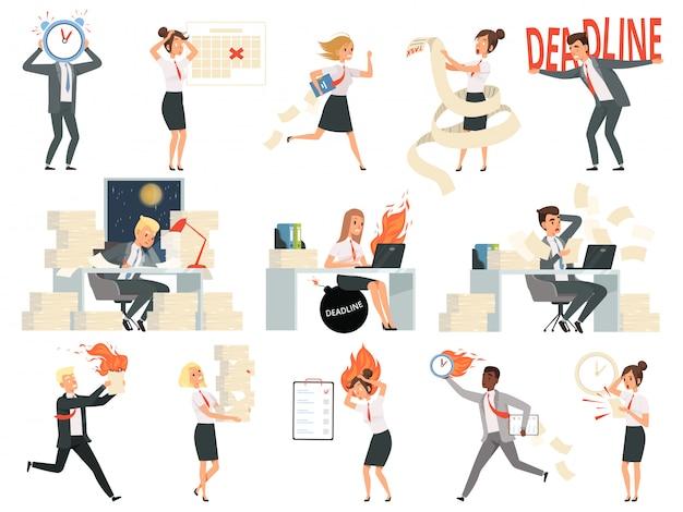 Scadenza personaggi. la gente sovraccarica degli affari dirige i direttori sollecitati e precipitanti dell'area di lavoro del pericolo isolata