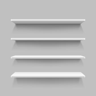 Scaffale bianco vuoto, mensole da una struttura in compensato, rettangolo da scaffale realistico