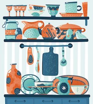 Scaffale da cucina. utensili da cucina per la preparazione del cibo o pentole in piedi sugli scaffali appesi ganci