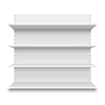Scaffale del supermercato vuoto. scaffali vuoti bianchi della vendita al dettaglio per le mercanzie, modello dell'esposizione del centro commerciale
