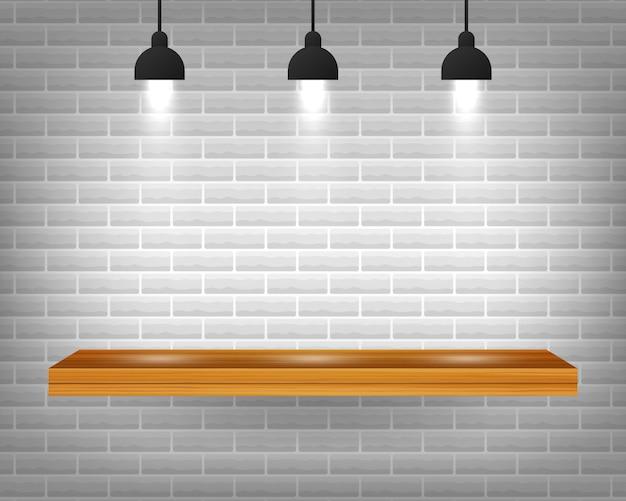 Scaffale di legno vuoto di vettore isolato sul fondo grigio del muro di mattoni.