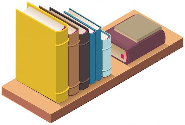 Scaffale e diversi libri a copertina rigida. illustrazione isometrica di vettore 3d
