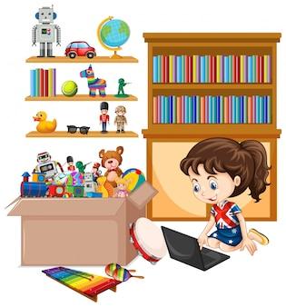 Scaffale e scatola in pieno di giocattoli isolati