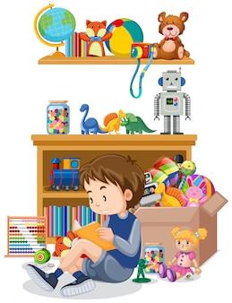 Scaffale e scatola in pieno di giocattoli su bianco