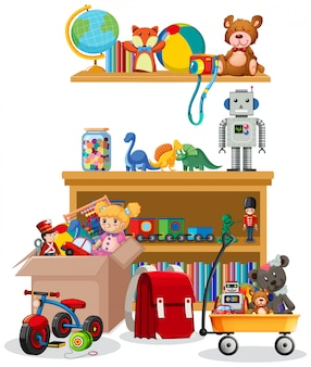 Scaffale e scatola in pieno di giocattoli su fondo bianco