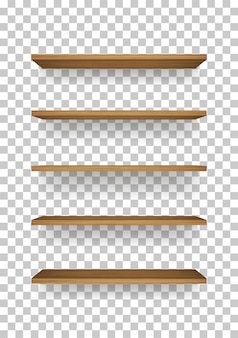 Scaffale in legno su sfondo trasparente.