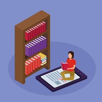 Scaffale, lettura della donna che si siede sul dispositivo del libro elettronico sulla porpora