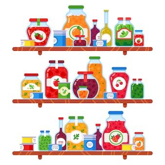 Scaffale per alimenti in scatola. i piselli conservati, il pasto sugli scaffali di negozio e le verdure conservate prodotti culinari hanno isolato l'illustrazione