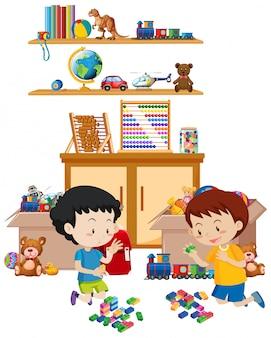 Scaffale pieno di libri e giocattoli isolati