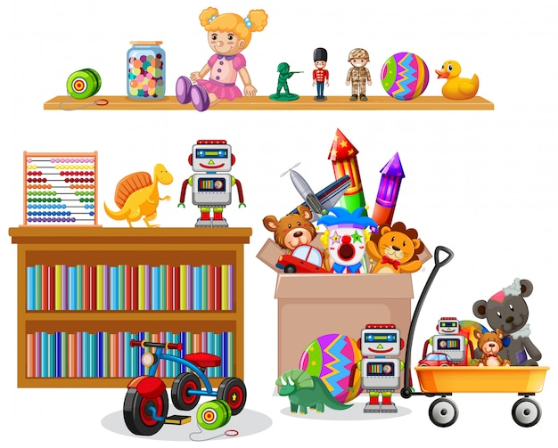 Scaffale pieno di libri e giocattoli su bianco