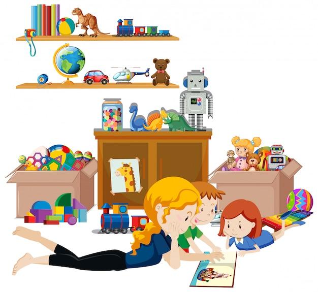 Scaffale pieno di libri e giocattoli su sfondo bianco