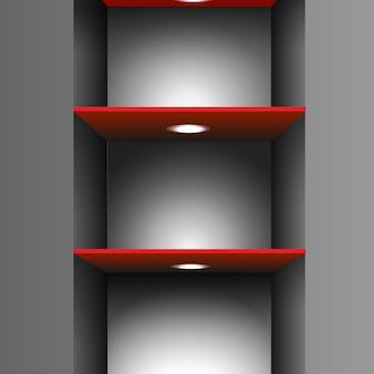 Scaffale rosso vuoto con illuminazione