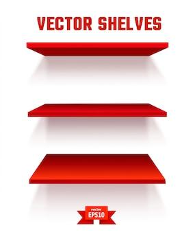 Scaffale rosso vuoto. gli elementi del tuo design. illustrazione vettoriale