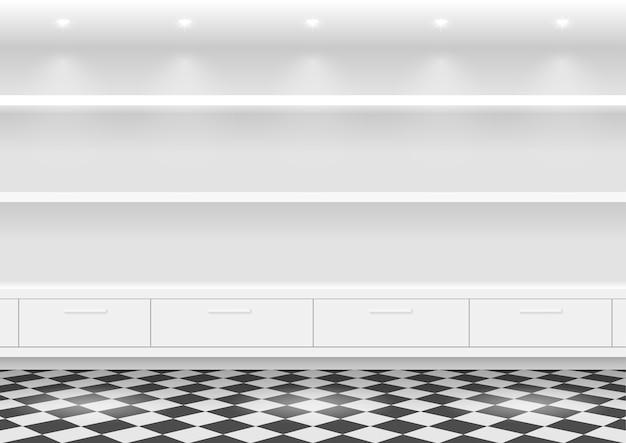 Scaffali bianchi per prodotti