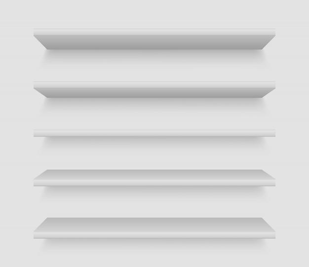 Scaffali bianchi per prodotto. vetrina vuota vuota. scaffale realistico della libreria, scaffali dei prodotti del mercato di merchandising di acquisto.