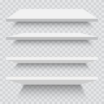Scaffali bianchi vuoti isolati contro una parete. illustrazione vettoriale