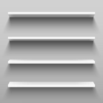 Scaffali bianchi vuoti per mobili per scaffalature domestiche.