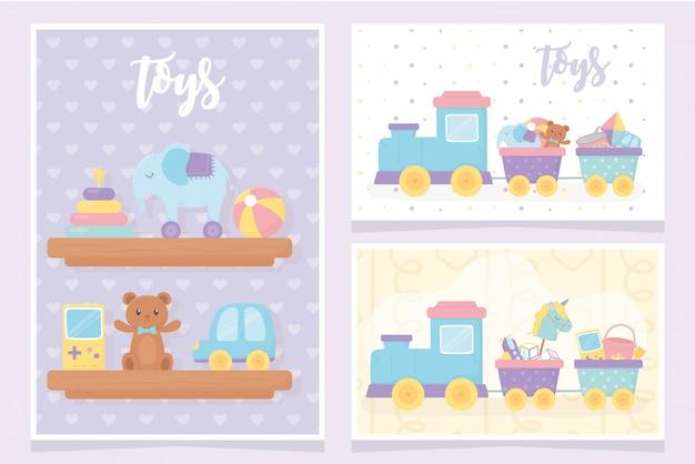 Scaffali dei giocattoli dei bambini con le carte della decorazione del treno del videogioco dell'automobile dell'orsacchiotto della palla della piramide dell'elefante