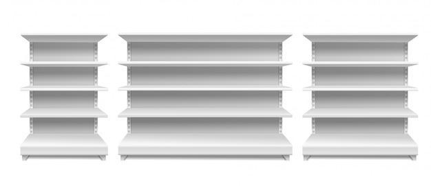 Scaffali dei negozi. vetrina vuota del supermercato bianco dell'esposizione dello scaffale di vendita al dettaglio della scaffalatura degli scaffali senza cuciture isolata