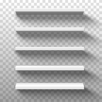 Scaffali dei prodotti del negozio bianco. esposizione vuota vuota della vetrina, scaffali al dettaglio del supermercato 3d.