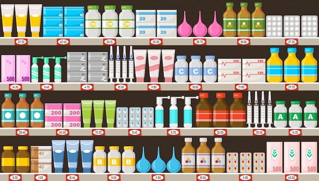 Scaffali di farmacia con medicine.vitamine, medicine, pillole, unguenti