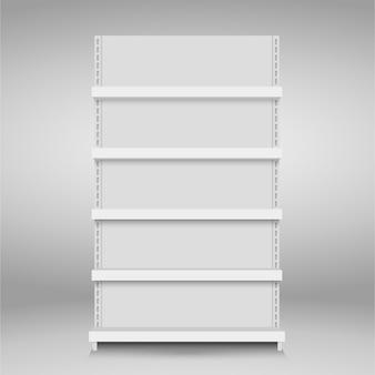 Scaffali di negozio vettoriale vuoto bianco. scaffale al dettaglio. stand del supermercato
