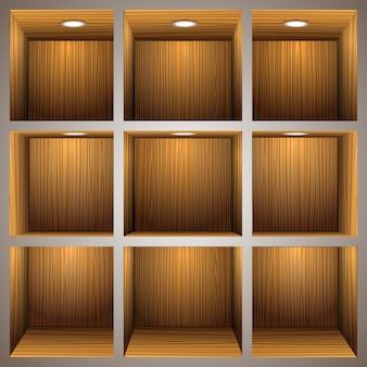 Scaffali in legno 3d