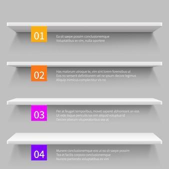 Scaffali moderni vuoti del deposito 3d per il prodotto. modello di infografica vettoriale negozio interno.