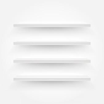 Scaffali vuoti bianchi illustrazione vettoriale. modello per un contenuto