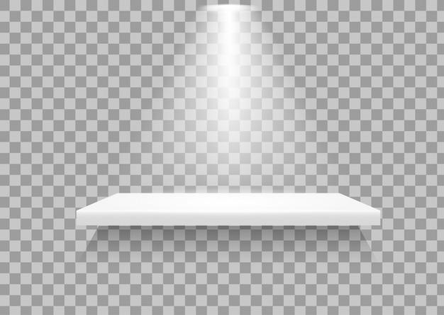 Scaffali vuoti c'è una luce che si illumina per mostrare al prodotto di risaltare.