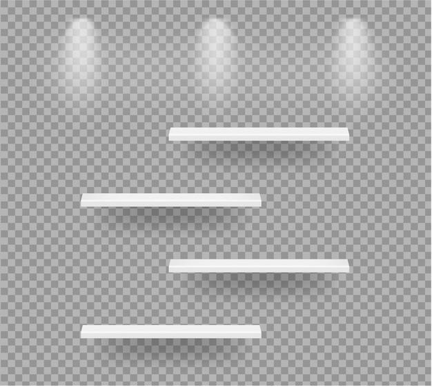Scaffali vuoti realistici per interni per mostrare il prodotto con illustrazione leggera e trasparente