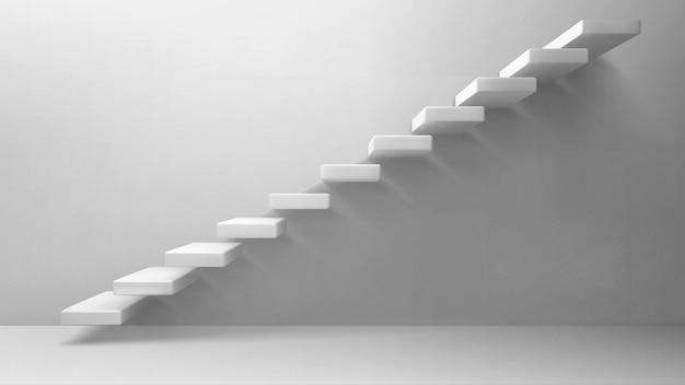 Scala bianca delle scale 3d sulla parete in bianco