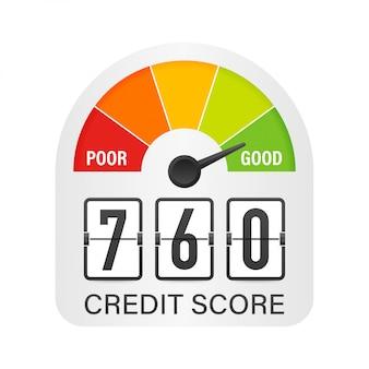 Scala del punteggio di credito che mostra un buon valore. illustrazione.