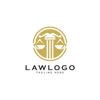Scala di legge di giustizia e logo emblema del cerchio