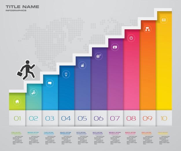 Scala di passaggi elemento di infografica per la presentazione.