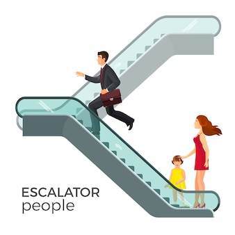Scala mobile con scala mobile, che trasporta persone tra i piani. uomo d'affari, madre e figlio