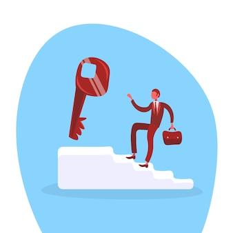 Scale rampicanti dell'uomo d'affari per la chiave di successo