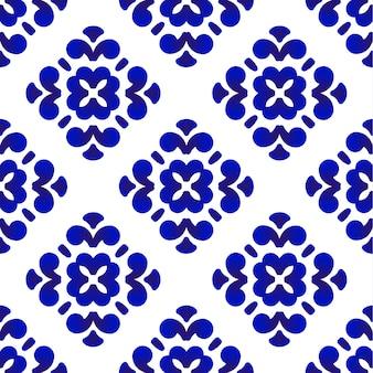 Scalpiccio decorativo blu e bianco delle mattonelle