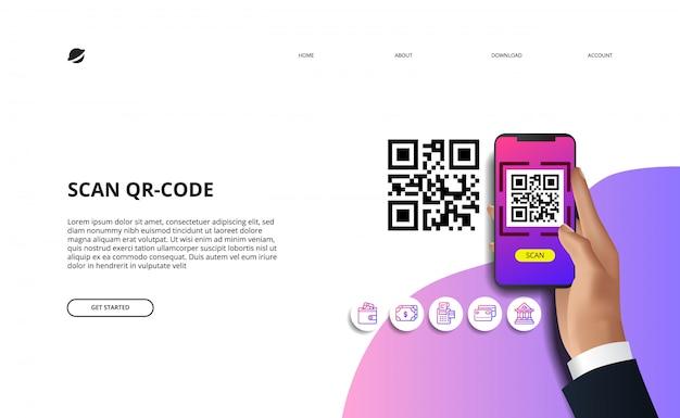 Scansiona il codice qr per la società cashless di pagamento online di finanza con finanza. mano che tiene l'illustrazione del telefono