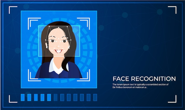 Scansione biometrica facciale per il sistema di riconoscimento facciale