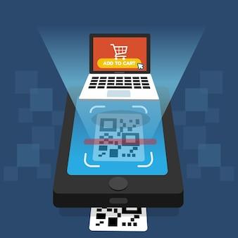 Scansione del codice qr sullo schermo dello smartphone