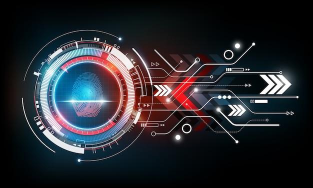 Scansione dell'impronta digitale con il fondo futuristico astratto di tecnologia, concetto di sistema di sicurezza, illustrazione