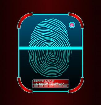 Scansione dell'impronta digitale, illustrazione del sistema di identificazione