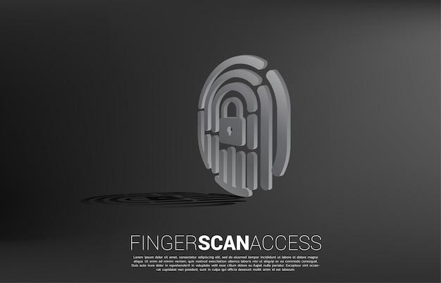 Scansione delle dita 3d con icona centrale lucchetto.