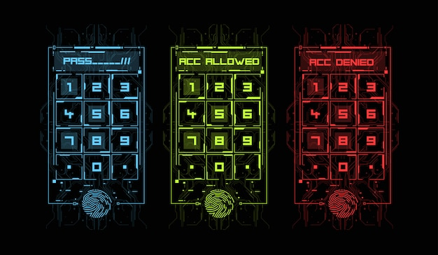 Scansione delle dita in stile futuristico. id biometrico con interfaccia hud futuristica. illustrazione di concetto di tecnologia di scansione dell'impronta digitale. pannello di controllo con password.
