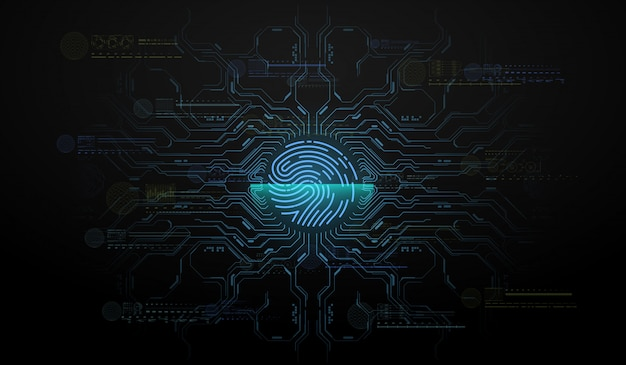 Scansione delle dita in stile futuristico. id biometrico con interfaccia hud futuristica. illustrazione di concetto di tecnologia di scansione dell'impronta digitale. scansione del sistema di identificazione.
